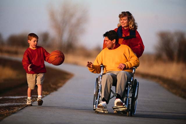 Father in wheelchair